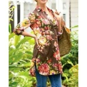 Soft Surroundings M Tunic Dress Brown Floral